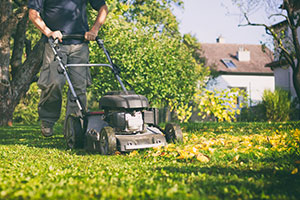 man mowing the grass in autumn
