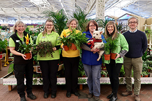 Photo caption (L-R): Cathryn (Haskins staff), Alice (Haskins staff), Sue Webster (Waggy Tails), Jane Storey (Waggy Tails rescue) with Tia the dog, Amanda (Haskins staff), Marc Etheridge (assistant general manager at Haskins in Ferndown)