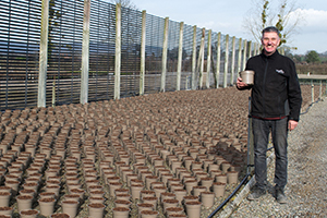 Steve Reed, Production Director of the Container Division at Wyevale Nurseries, with the Astilbes in the recyclable taupe plant pots