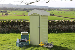 A shed painted in the Somerset Heritage Colour Collection
