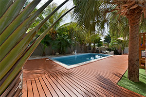 outdoor living space - a pool surrounded by Endurawood decking