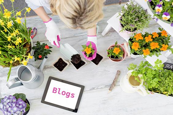Woman planting flowers and writing a blog
