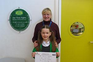 Perrywood sponsored the prize which winner Rebecca from Notley Green Primary won