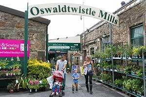 Oswaldtwistle Mills sign and open entrance