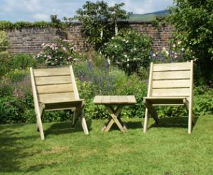Two wooden garden chairs